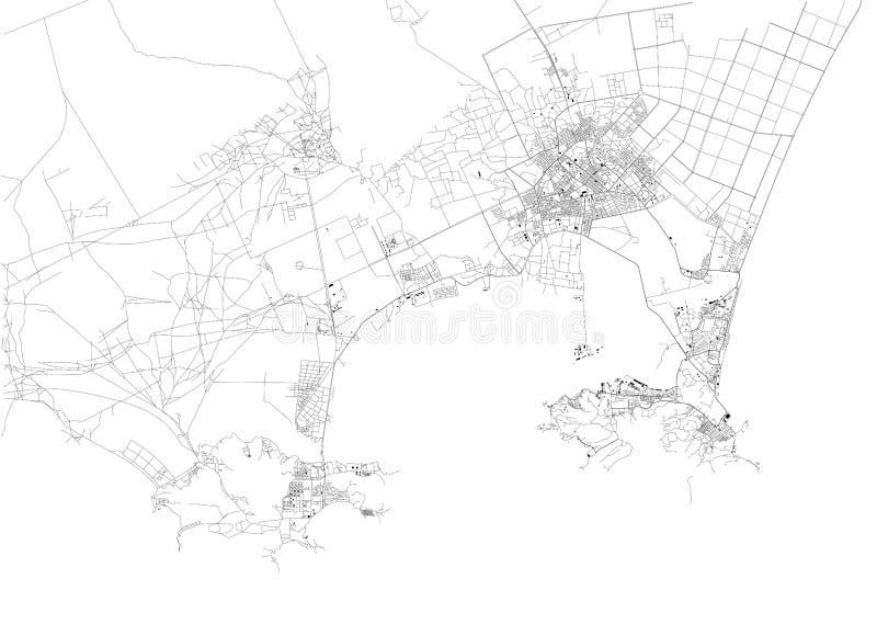 De satellietdiekaart van Aden, het is een havenstad van Yemen, door de oostelijke benadering van het Rode Overzees wordt gevestig royalty-vrije illustratie