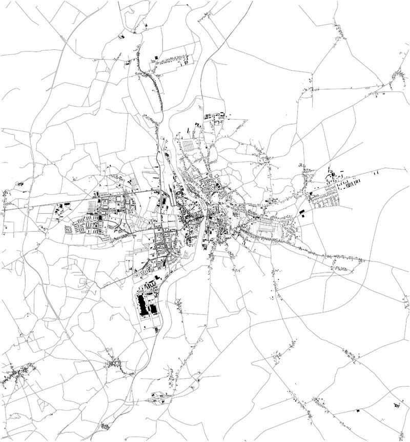 """De satellietkaart van PoznaÅ """", het is een stad op de Warta-Rivier in west-central Polen r royalty-vrije illustratie"""