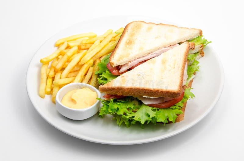 De saus en de gebraden gerechten van de sandwicheskaas stock fotografie
