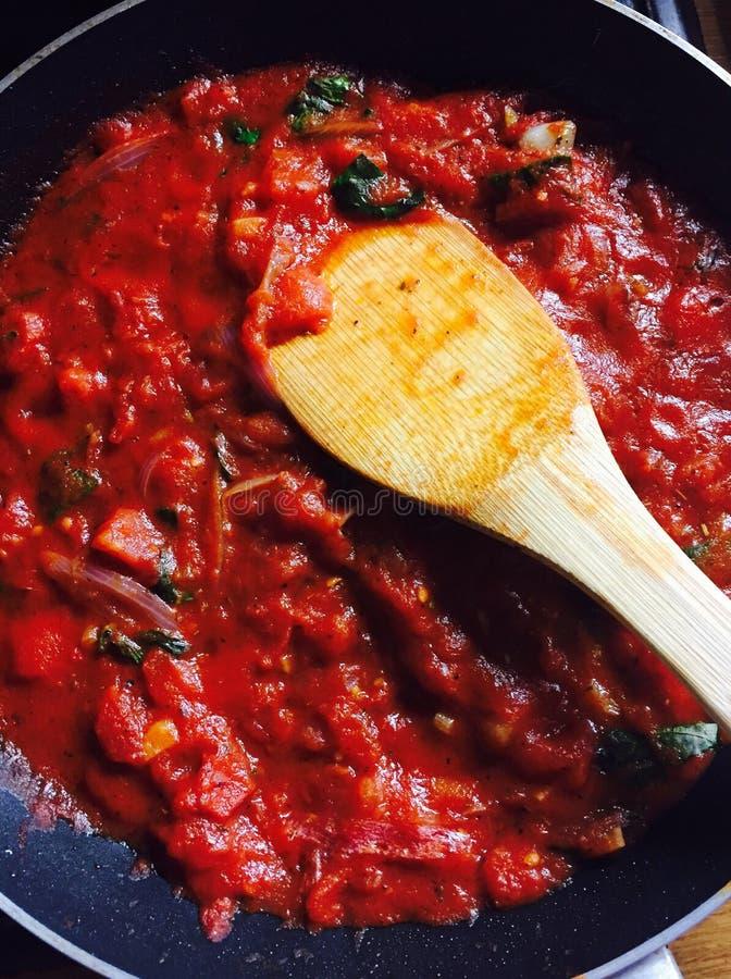 De saus van tomatendeegwaren royalty-vrije stock foto's