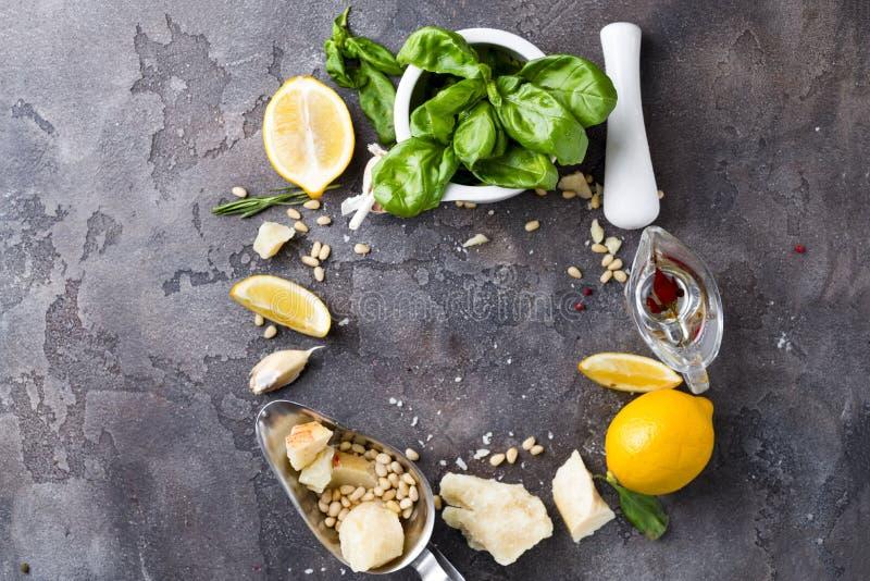 De sausingrediënten van Pesto royalty-vrije stock foto