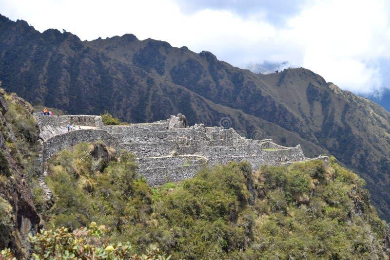 De Sayacmarca-ruïnes op Inca Trail royalty-vrije stock fotografie