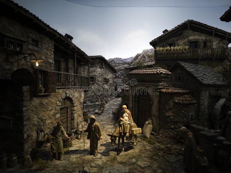 De scène model, levensechte artistieke modellen van de Kerstmisgeboorte van christus royalty-vrije stock afbeeldingen