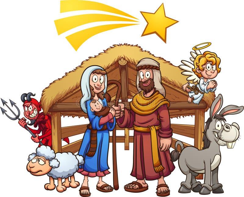 De scène van de beeldverhaalgeboorte van christus met vallende ster vector illustratie