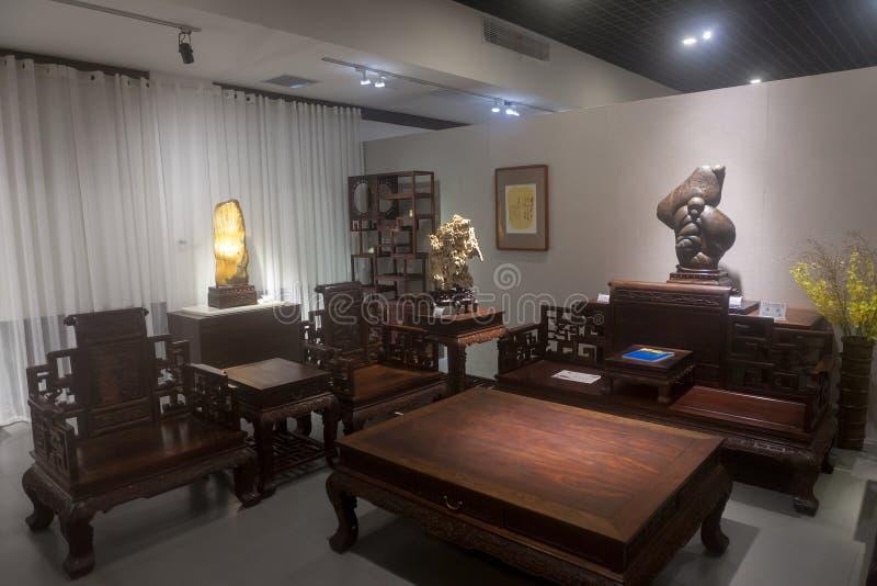 De scène van Chinese stijlwoonkamer stock afbeeldingen