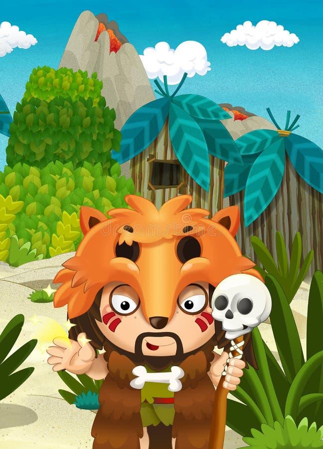 De scène van de beeldverhaalaard - wildernis - met grappige mangajongen - gelukkige scène stock illustratie