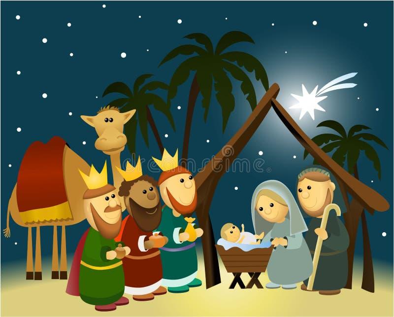 De scène van de beeldverhaalgeboorte van christus met heilige familie royalty-vrije illustratie