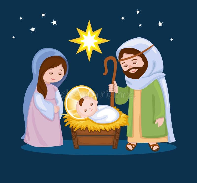 De scène van de beeldverhaalgeboorte van christus met heilige familie stock illustratie