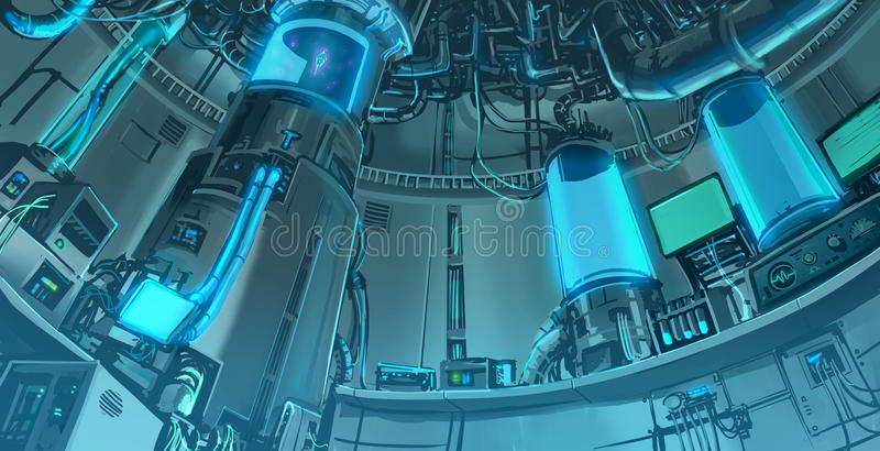 De scène van de beeldverhaalillustratie banckground van massieve wetenschapslabora stock illustratie