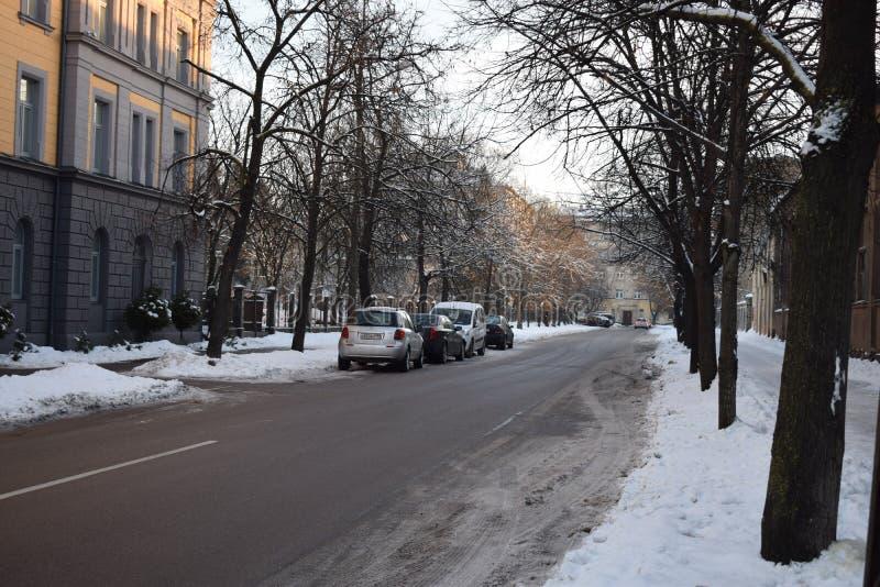 De scène van de de winterstraat in Riga stock afbeelding