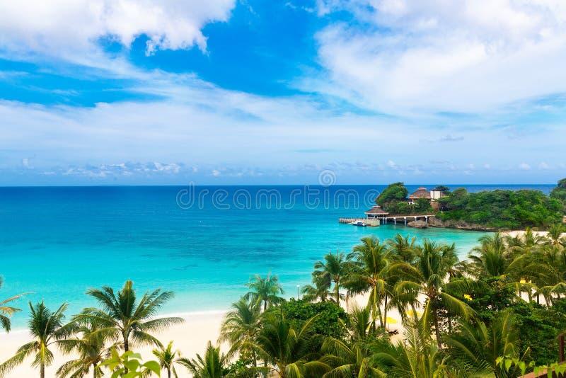 De scène van de droom Mooie palmen boven het witte zandstrand, Th stock afbeelding