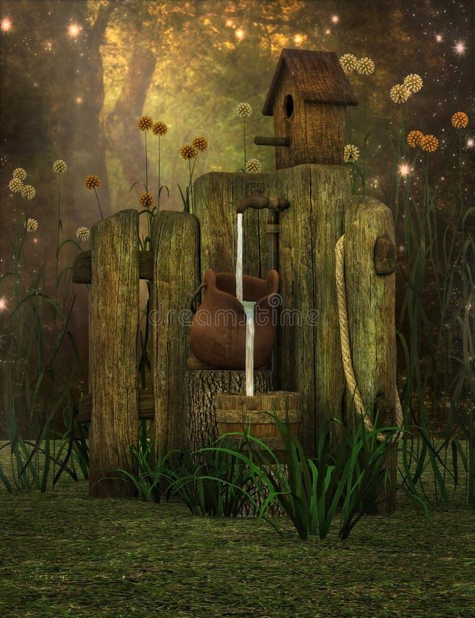 De scène van de fantasietuin vector illustratie
