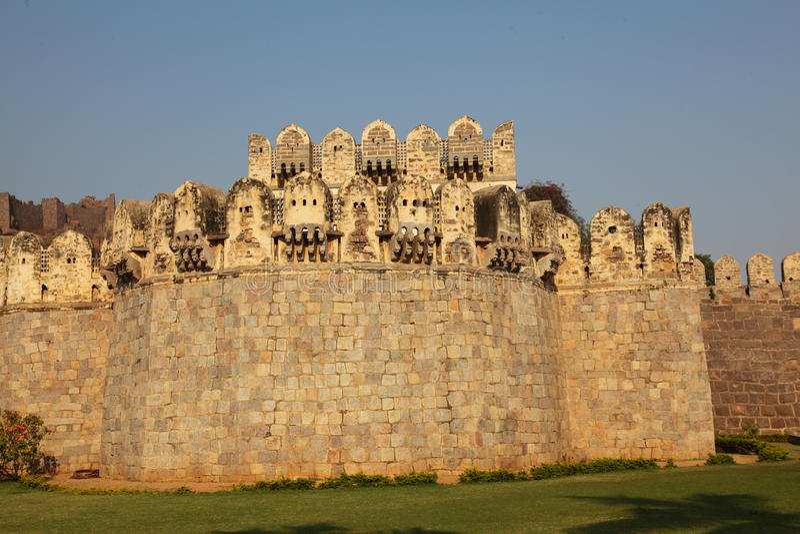 De scène van de hoofdingang, Golconda Fort, Hyderabad royalty-vrije stock afbeeldingen