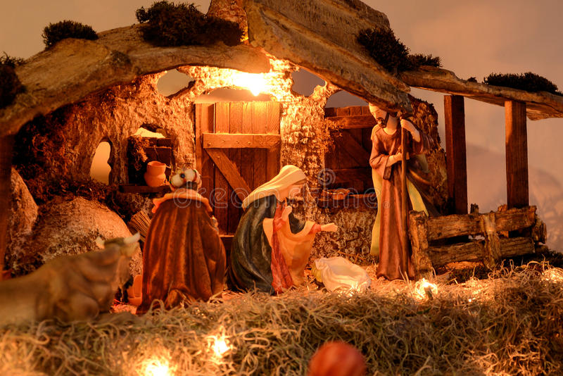 De Scène van de Kerstmisgeboorte van christus stock foto