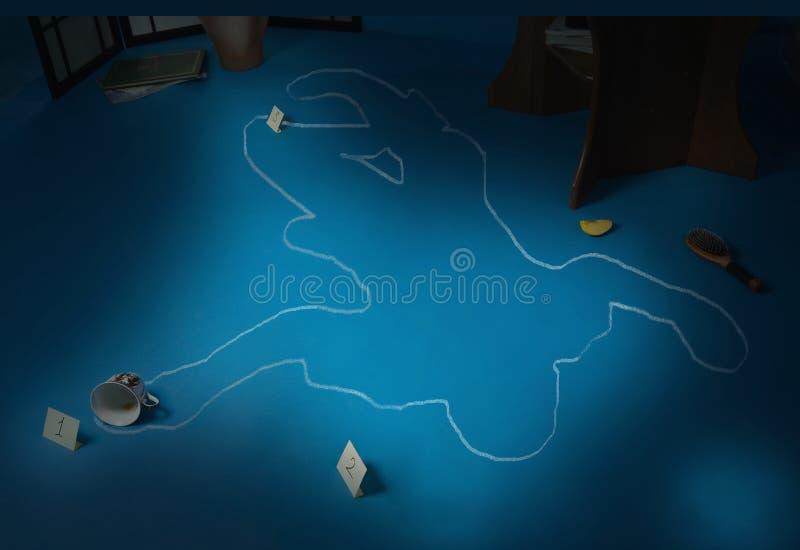 De scène van de misdaad met het silhouet van het slachtoffer royalty-vrije stock foto