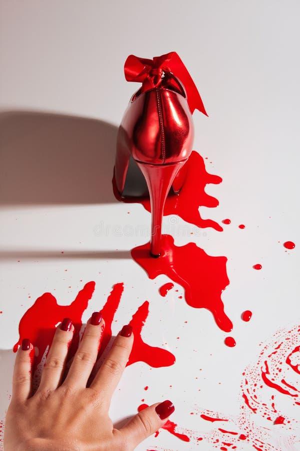 De scène van de misdaad met schoen stock afbeeldingen