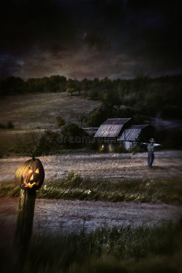 De scène van de nacht met de pompoen van Halloween op omheining royalty-vrije stock afbeelding