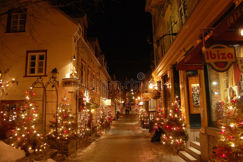 De scène van de nacht van Petit Straat Champlain stock afbeelding