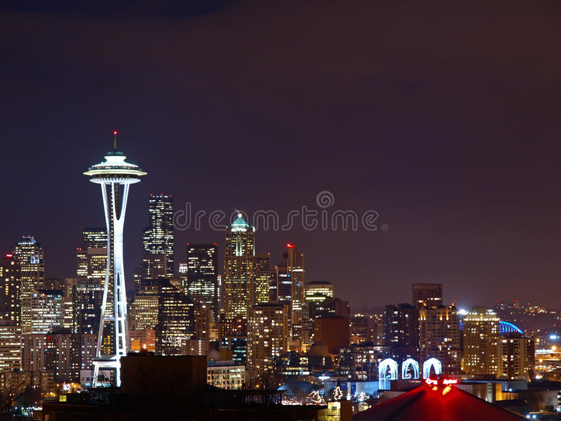 De Scène van de nacht van Seattle royalty-vrije stock foto