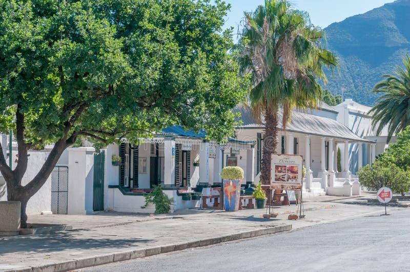 De scène van de recente middagstraat, Graaff Reinet stock foto