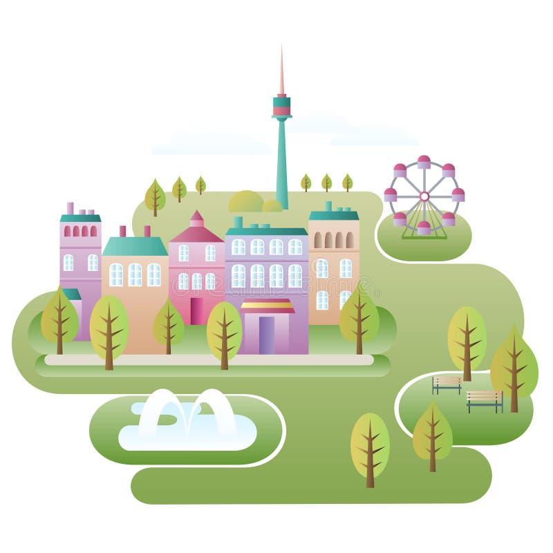 De scène van de stad royalty-vrije illustratie