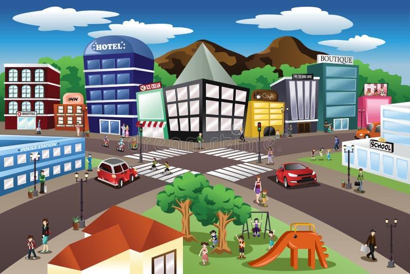 De scène van de stad vector illustratie
