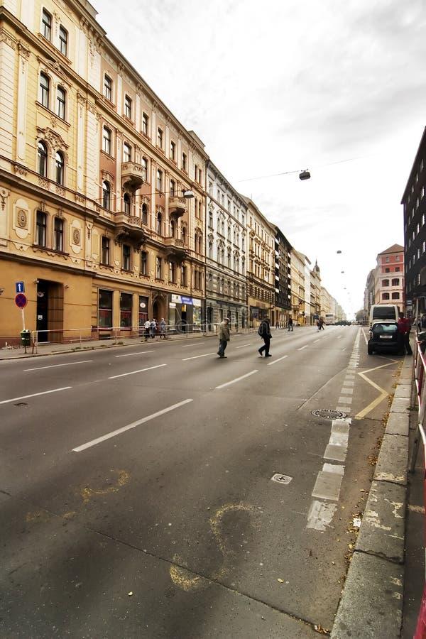 De Scène van de Straat van Praag stock afbeelding