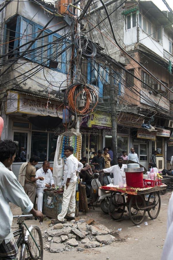 De Scène van de straatmarkt in New Delhi, Reis aan India stock foto's