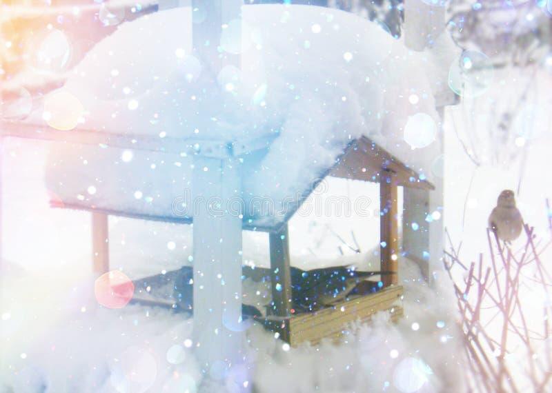 De scène van de winter Kerstmis en de nieuwe kaart van jaargroeten stock afbeelding