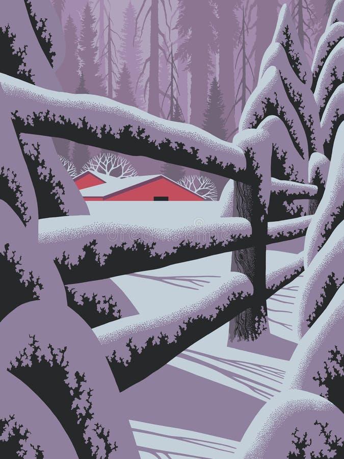 De Scène van de winter met Omheining   stock illustratie