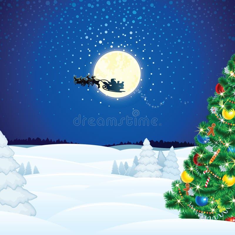 De Scène van de winterkerstmis met Santa Sleigh vector illustratie