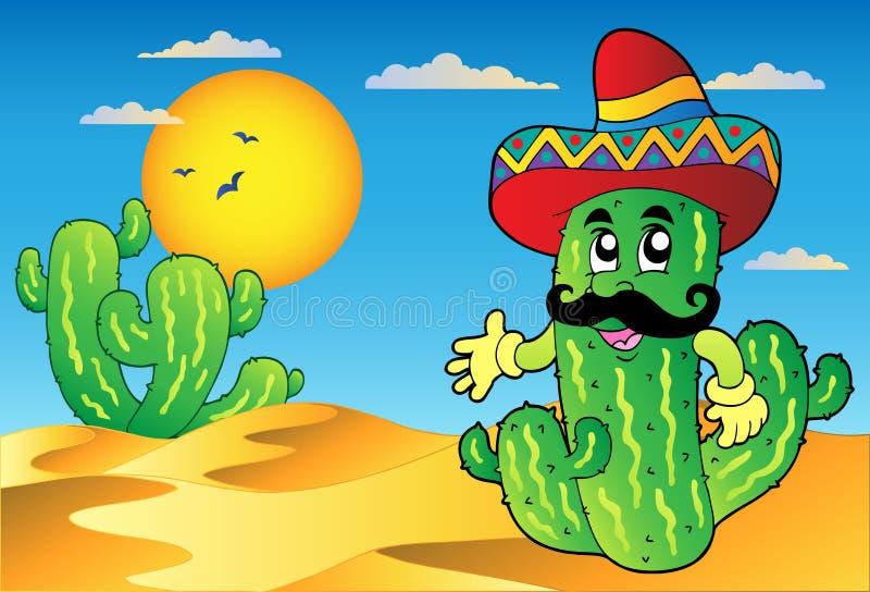 De scène van de woestijn met Mexicaanse cactus vector illustratie