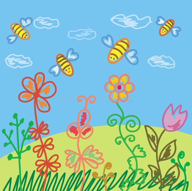 De scène van de zomer met bijen vector illustratie