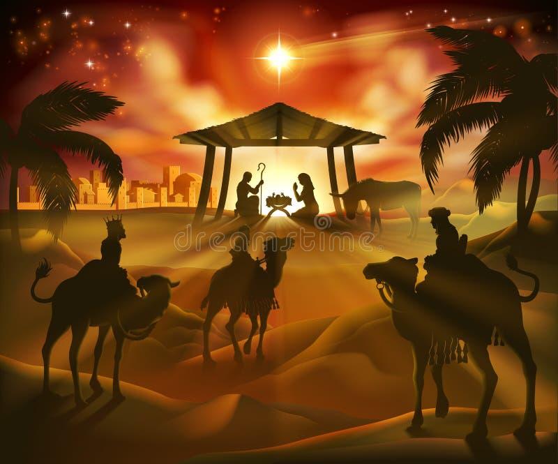 De Scène van geboorte van Christuskerstmis stock illustratie