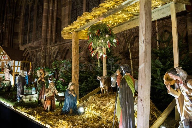De scène van de geboorte van Christustrog in Notre-Dame-Kathedraal royalty-vrije stock fotografie