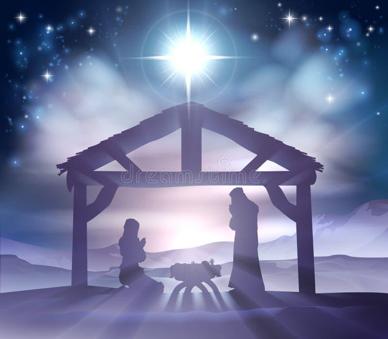 De Scène van geboorte van Christuskerstmis vector illustratie