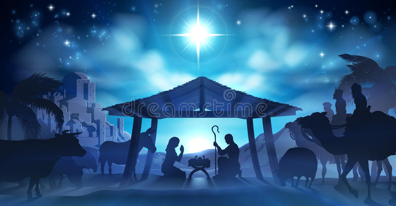 De Scène van geboorte van Christuskerstmis royalty-vrije illustratie