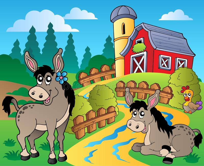 De scène van het land met rode schuur 8 stock illustratie