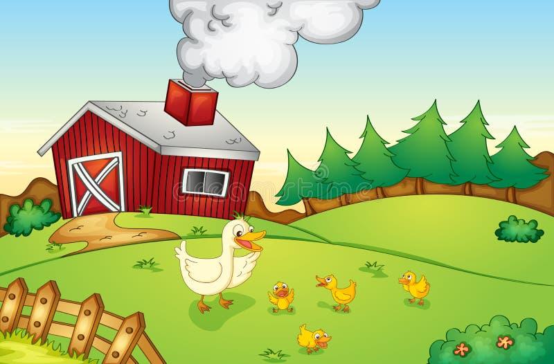 De scène van het landbouwbedrijf royalty-vrije illustratie