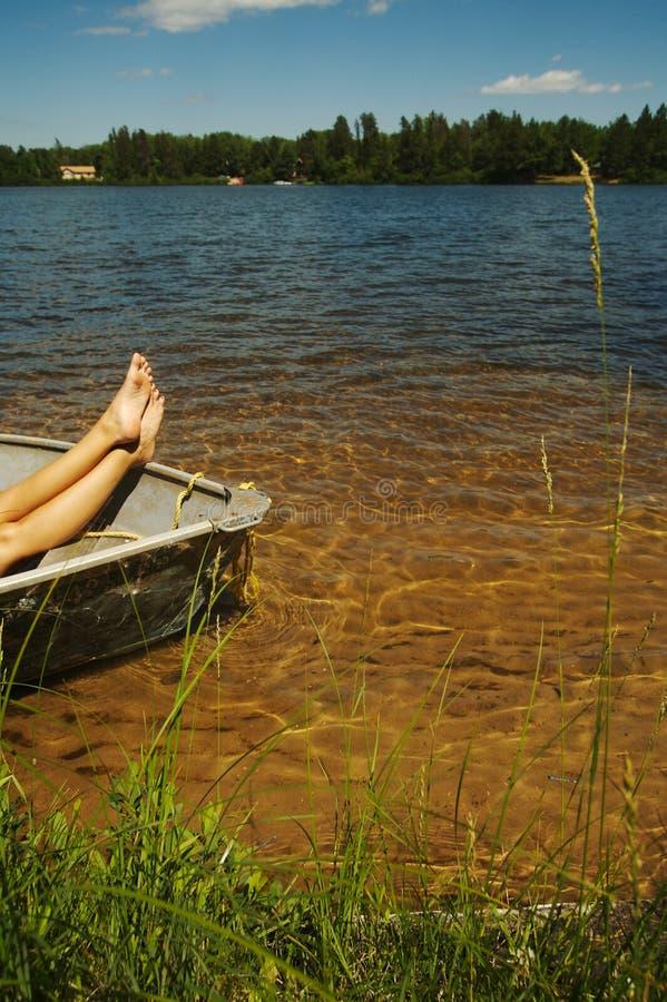 De Scène van het meer op de Dag van de Zomer royalty-vrije stock afbeelding