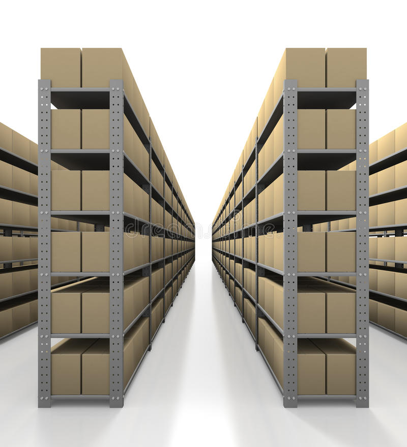 De scène van het pakhuis met propere dozen stock illustratie