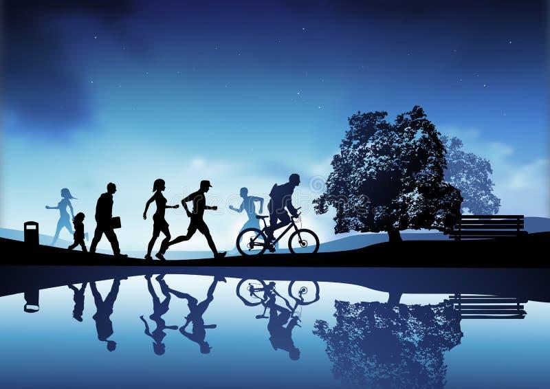 Download De Scène Van Het Park Van De Avond Vector Illustratie - Illustratie bestaande uit achtergrond, running: 10780352