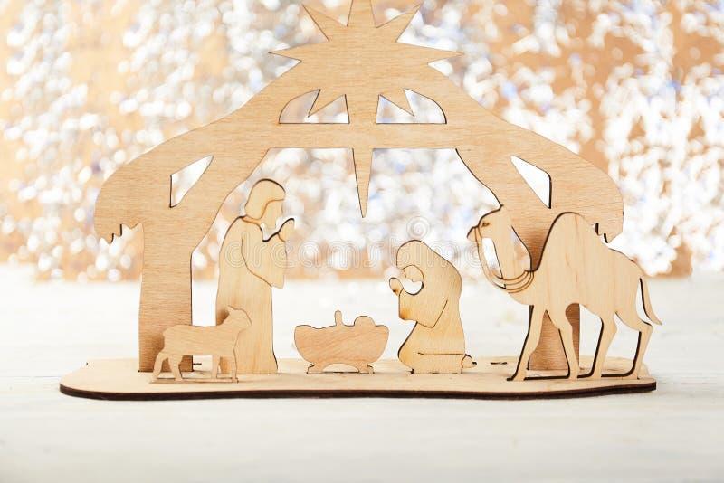 De Scène van de Kerstmisgeboorte van christus van baby Jesus in de trog met Mary en Joseph royalty-vrije stock afbeelding