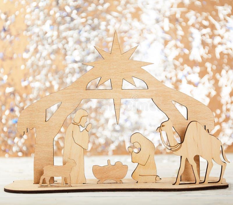De Scène van de Kerstmisgeboorte van christus van baby Jesus in de trog met Mary en Joseph stock foto's