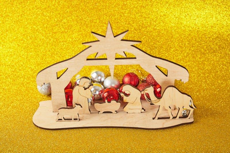 De Scène van de Kerstmisgeboorte van christus van baby Jesus in de trog met Mary en Joseph stock fotografie