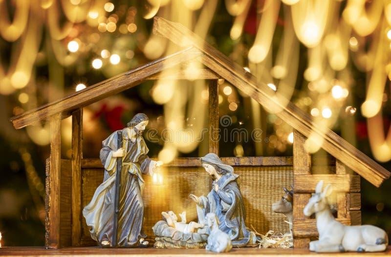De scène van de Kerstmisgeboorte van christus; Jesus Christ, Mary en Joseph stock foto's