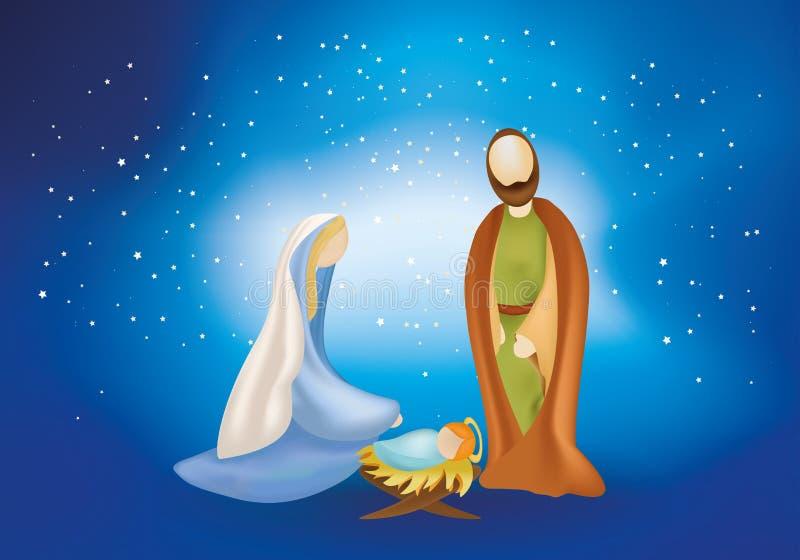 De scène van de Kerstmisgeboorte van christus met heilige familie op blauwe achtergrond royalty-vrije illustratie