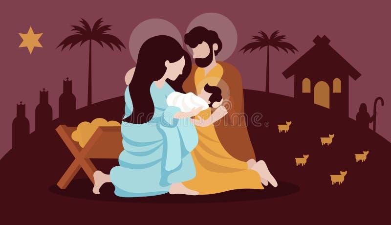 De scène van de Kerstmisgeboorte van christus met heilige familie vlakke illustratie stock illustratie