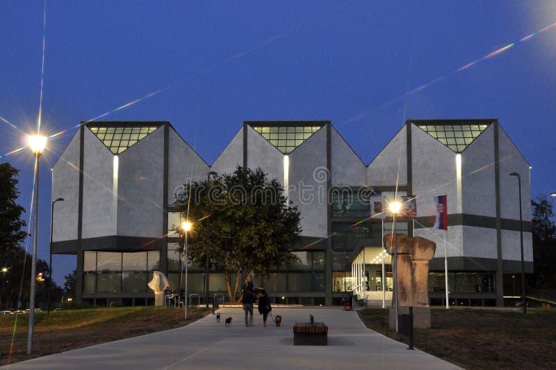 De scène van de nacht van moderne architectuur stock foto