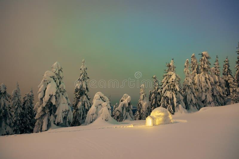 De scène van de nachtwinter met een iglosneeuw stock foto's